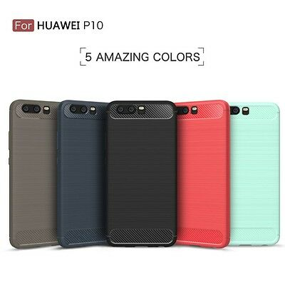 Para Huawei P10 Funda Carcasa Gel Tpu Carbon Cover Case