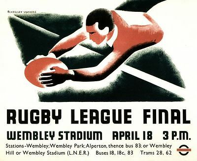 Vintage 1936 Rugby League Challenge cup Final Poster A3/A2/A1 Print
