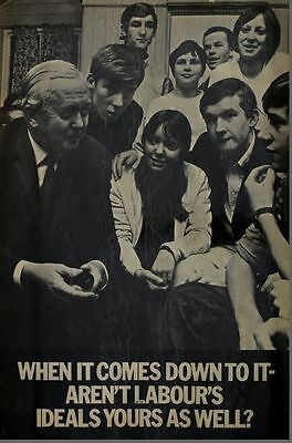 Vintage 1970's Harold Wilson Labour Party Election Poster A3/A2/A1 Print