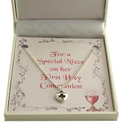 First Holy Communion Necklace for Girl. Heart with Cross Pendant. Gift Boxed.