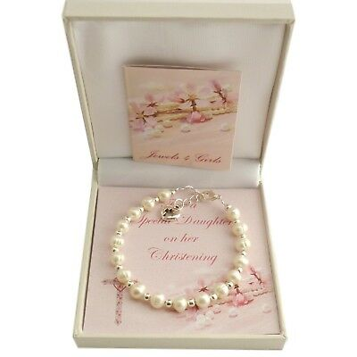 Girls Christening Bracelet with Pearls. Gift for Daughter, Goddaughter etc