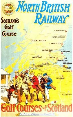 Vintage North British Railway Scottish Golf Courses Poster A3/A2/A1 Print