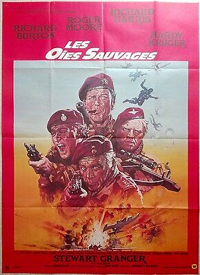 1978 THE WILD GEESE Richard Burton Roger Moore French 47x63 film poster