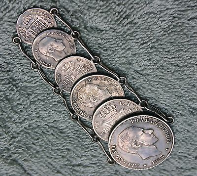 1801 Carlos IIII 1/2 Real Mexico Watch Fob Also 5 Early Silver Phillipies Coins