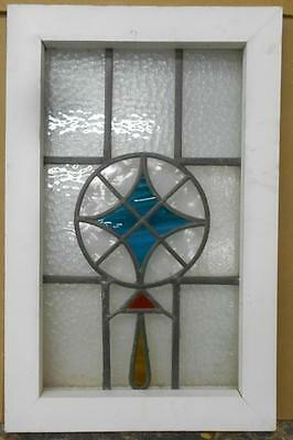 "OLD ENGLISH LEADED STAINED GLASS WINDOW Awesome Geometric 13.75"" x 21.25"""