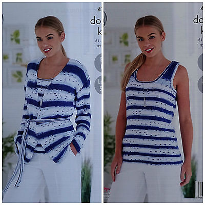 KNITTING PATTERN Ladies Easy Knit Long Sleeve Jacket & Vest Top DK KingCole 4769
