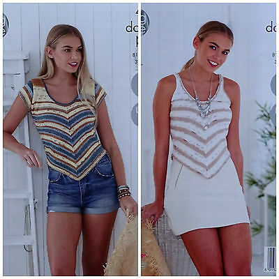 KNITTING PATTERN Ladies Easy Knit Short Sleeve & Sleeveless V Stripe Top DK 4770