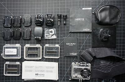 Authentic GoPro HERO 2 Waterproof Case/ Housing and Adapters Lot / Parts