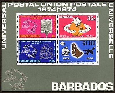 BARBADOS 1874-1974 100th Anniversary of UPU MINISHEET MNH [2090]