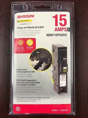 Square D Homeline Hom115Pcafic 15A Plug In Arc-Fault Combination Breaker