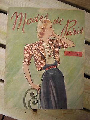1946 Modes de Paris fashion magazine sewing patterns vintage antique ephemera~