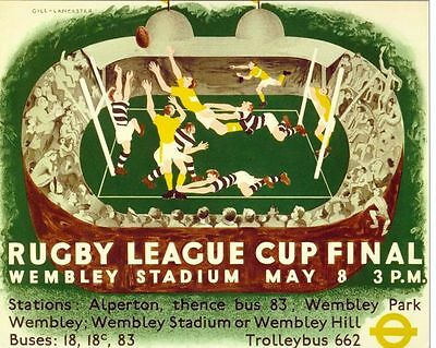 1937 Rugby League Challenge Cup Final Widnes Keighley Poster A3/A2/A1 Print
