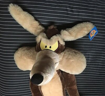 "Vtg Wile E Coyote 41"" Large Plush Stuffed Animal  1997 Looney Tunes Posable Tag"