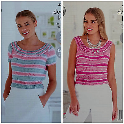 KNITTING PATTERN Ladies Easy Knit Short Sleeve &Sleeveless Boat Neck Top DK 4772