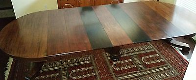 BEAUTIFUL Empire Mahogany 12' Dining Banquet Table w 7 Leaves circa late 1800's