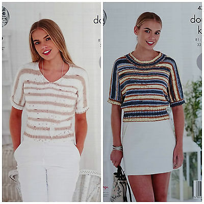 KNITTING PATTERN Ladies Easy Knit Short Sleeve Round V-Neck Top DK KingCole 4775