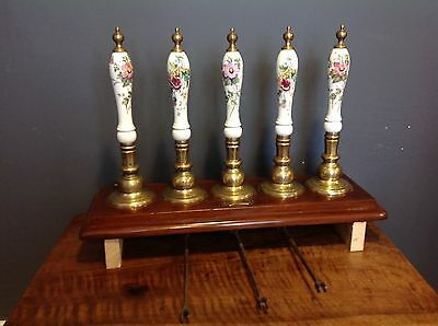 Rare Set Of 5 Brass Pub Bar Beer Pulls With Porcelain Handles And 5 Brass Taps