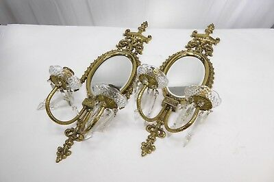 BEAUTIFUL Vintage Pair of French Brass Candle Wall Sconces! Lovely!