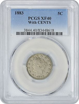 1883 Liberty Nickel EF40 With CENTS PCGS