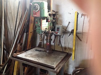 "powermatic drill press model 1200 on heavy table 10"" from spindle to column."