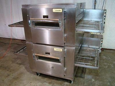 Lincoln Impinger 1450 Double Stack Natural Gas Pizza Conveyor Ovens...video Demo