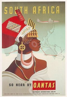 Vintage Qantas Flights To South Africa  Poster A3 / A2 Print