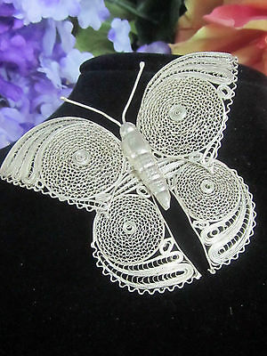 VINTAGE artisan handcrafted MEXICO fine SILVER ornate FILIGREE BROOCH Butterfly