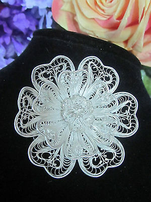 VINTAGE artisan handcrafted MEXICO fine SILVER ornate FILIGREE pin BROOCH Flower