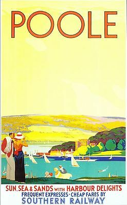 Vintage Southern Railways Poole Railway Poster A3/A2/A1 Print