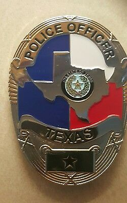 Obsolete FLAT Texas police badge with wallet clip
