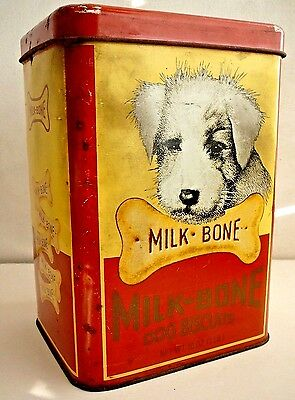Milk-Bone Scottie Dog Vintage Tin Biscuits Large Lid Collector Original As Is