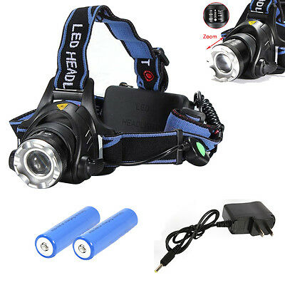 6000LM LED Headlamp Rechargeable 18650 Headlamp Head Light Zoomable Torch