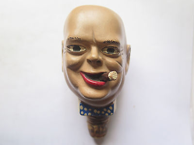 WINSTON CHURCHILL BOTTLE STOPPER CORK HAND PAINTED MADE of WOOD cEarly 1930s
