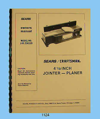 "Sears Craftsman 4"" Jointer 149.236220 Owners & Parts List Manual #1124"