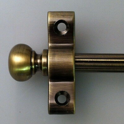 "ANTIQUE BRASS 3/8"" x 36"" INCH REED STAIR RODS ROUND FINIAL (R02LRER)"