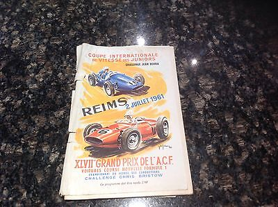 1961 French Grand Prix Programme At Reims