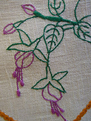 FUCHSIA FLOWER Outlines Violet Large Doily Hand Embroidered Table Centre