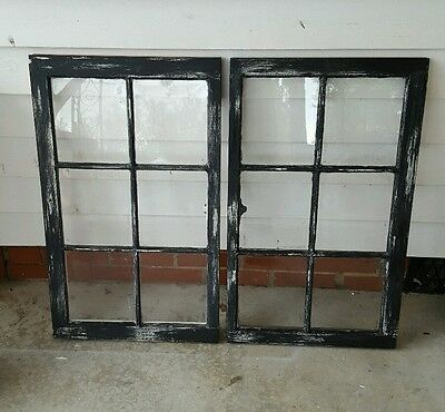 VINTAGE SASH ANTIQUE WOOD WINDOW PICTURE FRAME PINTEREST  DISTRESSED BLACK set 2