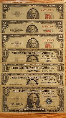 $2 US Notes-3  &  $1 Silver Certificates- 4 -  7 small size notes