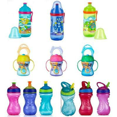 Nuby Free Flow Sippy Cup Toddler Drinking Pop Up Flip Straw Sports