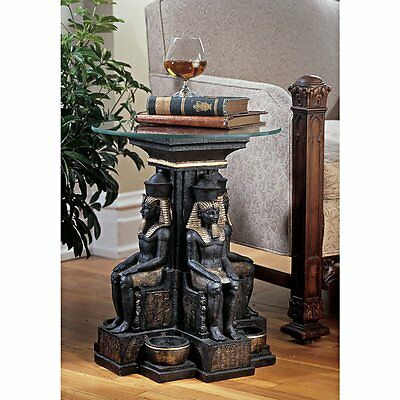 Unique Furniture Round Glass Top Table Ancient Egypt Egyptian Decor African Art