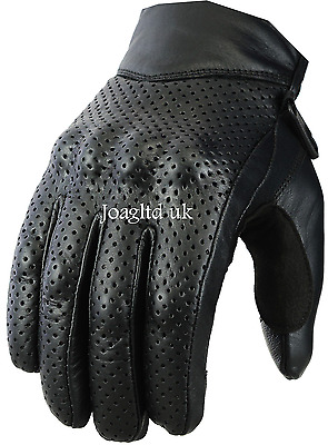 Leather Motorbike Motorcycle Gloves Knuckle Shell Protection Vented Summer Touch