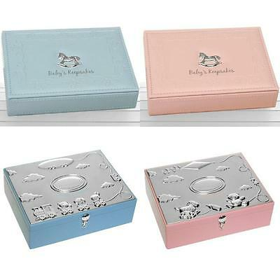 Baby Keepsake Memory Box Silver Plated Newborn Faux Leather Boy Girl Blue Pink