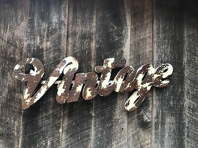 "Metal Large Sign ""Vintage"" Retro  Cream/white Blend & Rusty Patina- Industrial-"