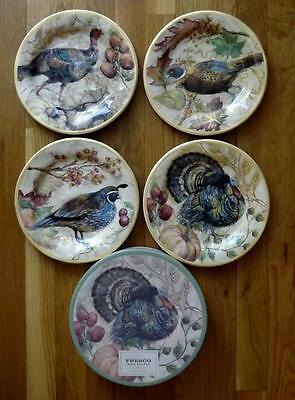NIB 4 Pottery Barn Fresco Bird Turkey & Quail Salad Plates Thanksgiving 9""