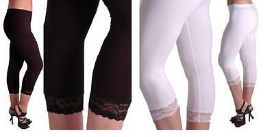 Black White Lace Trim Cropped 3/4 Capri Leggings UK size 8 10 12 16