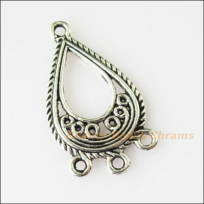 4Pcs Antiqued Silver Tone Round Flower 1-1-7 Charms Pendants Connector 22.5x26mm