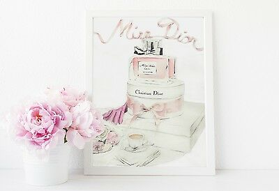 Dior Perfume Watercolour Illustration Print Wall Art Home Decor 18th 21st Gift