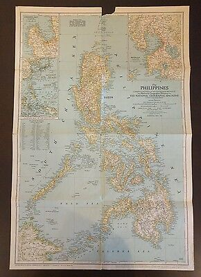 Rare Vintage 1945 Philippines National Geographic Map