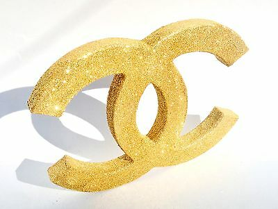 Handmade Gold Glitter Covered Chanel Art Piece Freestanding Plaque